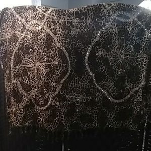 NWOT Long Leopard Wrap For Sarong w/Sequins